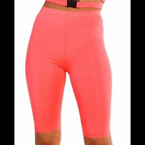 iHeartRaves Neon Orange High Waist Biker Shorts